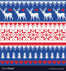 Nordic Pattern Fascinating Nordic Seamless Pattern With Deer And Christmas Vector Image