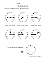 Quarter Hours Worksheet