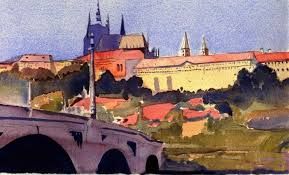 prague castle watercolor approximately 12 x 7 inches