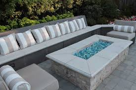 fire pit with fire glass by tom ralston
