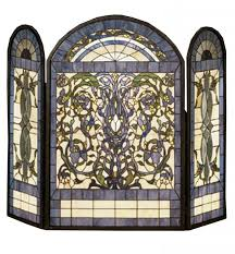 rbg home ribbons and flowers stained glass fireplace screen 1 230 00