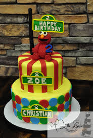 2 Tiered Elmo Birthday Cake For Twins A Little Cake