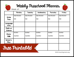 unit organizer routine template weekly preschool planner