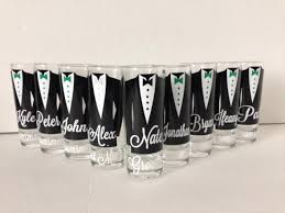 personalized shot glasses with tuxes groom and groomsmen wedding glasses 1