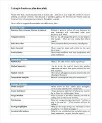 Free Business Plan Templates Word Printable Business Plan Template Simple Business Plan Examples