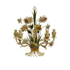 vintage toleware chandelier french country decor hand painted