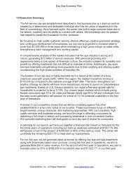 Executive Summary Day Spa Business Plan Executive Summary Sample Plan Llc