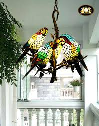 stained glass pendant light stained glass hanging lamps vintage style stained glass retro five parrot pendant