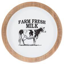 farm fresh milk round metal wall decor