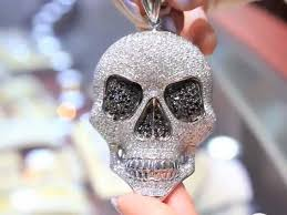 14k white solid gold mens diamond skull pendant with black diamonds 18 00 ctw