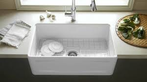 White Farmhouse Sink With Rack Inside The Basin For Modern Kitchen Basin Sink Kitchen