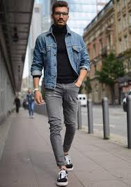 denim jacket black turtle neck t shirt grey jeans black low top