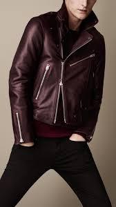 burberry leather biker jacket oxblood a w 13