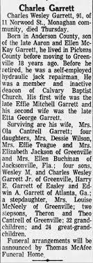 Charles Wesley Garrett Obituary - Newspapers.com