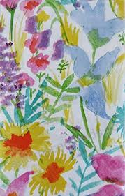 summer meadow watercolor with zipper umbrella hole vinyl flannel back tablecloth 70 round