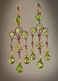 chandelier earrings peridot art nouveau dangle earrings