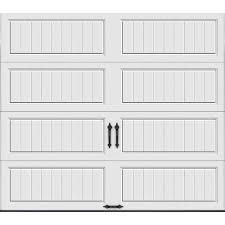 clopay gallery collection 16 ft x 7 ft 18 4 r value intellicore insulated solid ultra grain medium garage door gr2lu mo sol the home depot