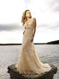 discount v neck lace champagne wedding dress beach gown trendy