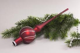 Weihnachtsbaumspitze Christbaumspitze Rot Matt Antik Silber Dekor Geschwungener Streifen Größe Ca 27 X 6cm
