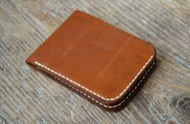 leather wallet veg tan leather minimal cash cards holder hand stitched for men women by hand wallets i