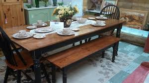 beautiful farm table with matching bench and chairs
