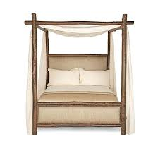 Rustic Farmhouse Canopy Bed Queen Shown In Natural Finish Curtain ...
