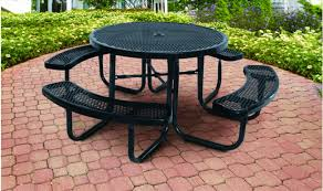 black supersaver commercial round picnic tables