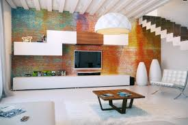 Kitchen:Rustic Kitchen With Wooden Cabinet And Exposed Brick Wall Colorful  Exposed Brick Wall Modular