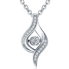 elegant natural 10 carat dancing diamond pendant necklace in 14k white gold 0