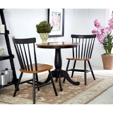 international concepts black and cherry 30 inch pedestal table with two copenhagen chairs