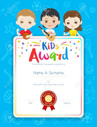 Children Certificate Template Portrait Colorful Kids Award Diploma Certificate Template In