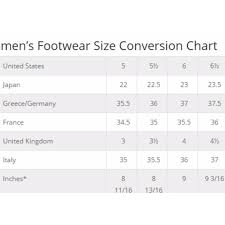 Size Chart Shoes Women S International Youth Shoe Conversion Online Charts Collection