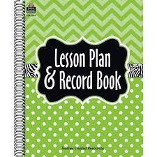 Lime Chevrons And Dots Lesson Plan And Record Book