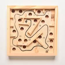 Wooden Maze Games 100xClassic Maze Board Kids Children Education Learning Intelligence 5