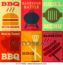 Bbq Poster Clipart Of Retro Bbq Posters Collection K17774332 Search Clip Art