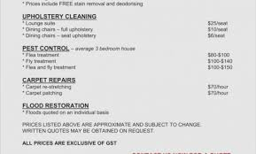 Commercial Cleaning Price Chart House House Cleaning Price List Pdf