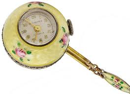 art deco bucherer gilt silver and enamel ball watch with chain for