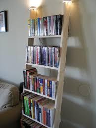 Three Types of Ingenious Ladder Bookshelves Designs: Rustic Wooden Ladder  Bookshelf With Top Lights