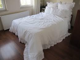 queen duvet cover white on white cotton eyelet ruffle around elegant shabby chic rufffle bedding