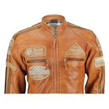 xposed mens real leather tan brown racing badges biker jacket vintage retro look