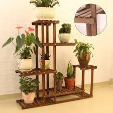 5 tier outdoor wooden flower pot shelf stand folding display rack garden yard