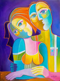 original cubist painting oil on canvas abstract modern artwork just married marlina vera contemporary art fauve picasso style in love