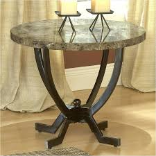 extravagant looked in brown theme combined to grey patter moderate height and wide round marble top target threshold end table