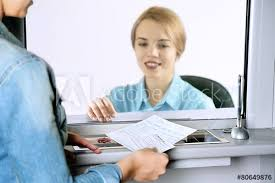 Teller Window With Working Cashier Concept Of Payment Of