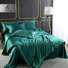 parkshin luxury dark green color bedding set 100 silk home textiles soft comfort duvet cover silky bed set with flat sheet pink bedding king size