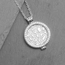 silver pave disc coin long necklace uk