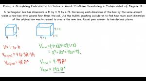 topic using a graphing calculator to solve a word problem involving a polynomial of degree 3