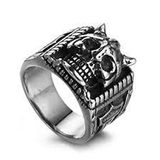 adisaer biker ring for men 3d evil skull ring punk silver black snless steel ring bands