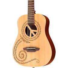 travel size guitar luna guitars safari 3 4 size travel guitar with peace design