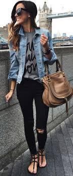 Camisa de mezclilla con jeans negros. me encanta este look ...